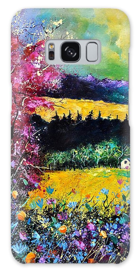Landscape Galaxy S8 Case featuring the painting Autumn Flowers by Pol Ledent