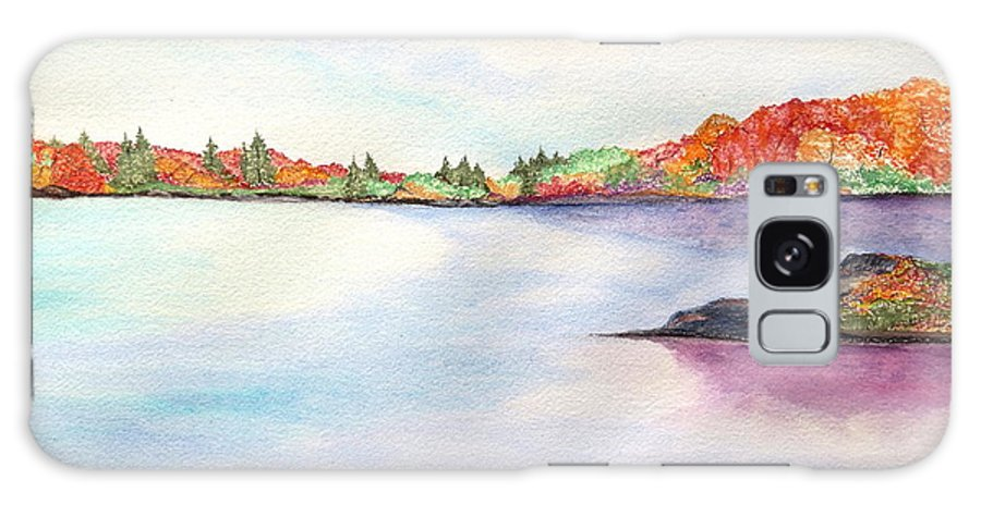 Fall Foliage Color Water Rock Cloud Sky Orange Red Green Blue Leaves Clm Pine Trees Crisp Galaxy S8 Case featuring the painting Autumn Pond by Daniel Dubinsky