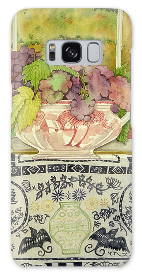 Grapes Tablecloth Windowsill Galaxy S8 Case featuring the photograph Autumnal Bouquet Watercolour by Lillian Delevoryas