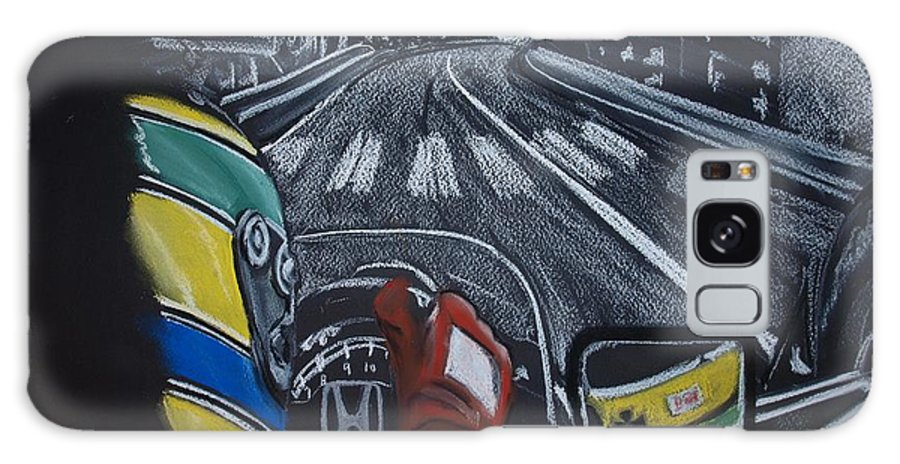 Ayrton Senna Galaxy S8 Case featuring the painting Ayrton Senna On Board At Monaco 89 by Juan Mendez