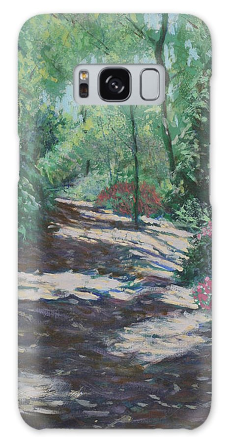 Flower Landscape Paintings Galaxy Case featuring the painting Azalea Trail by David Zimmerman
