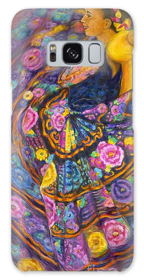 Mexican Galaxy S8 Case featuring the painting Baile En Las Flores by Pat Haley