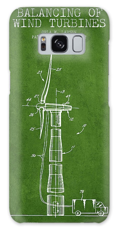 Wind Turbine Galaxy Case featuring the digital art Balancing Of Wind Turbines Patent From 1992 - Green by Aged Pixel