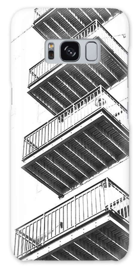 #black And White Galaxy S8 Case featuring the photograph Balconies by Debbie Nobile