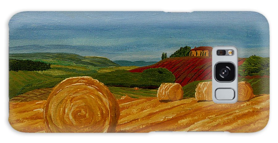 Hay Galaxy Case featuring the painting Field Of Golden Hay by Anthony Dunphy