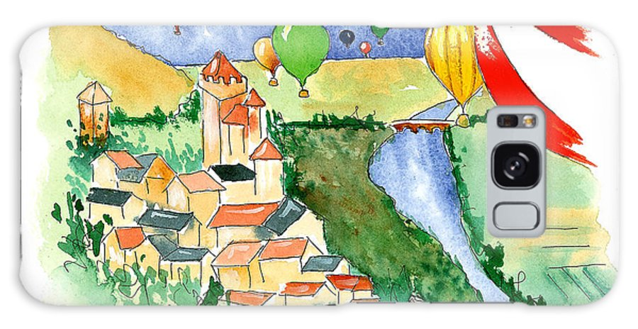 Illustrations Galaxy Case featuring the mixed media Ballooning In France 2 by Leah Wiedemer