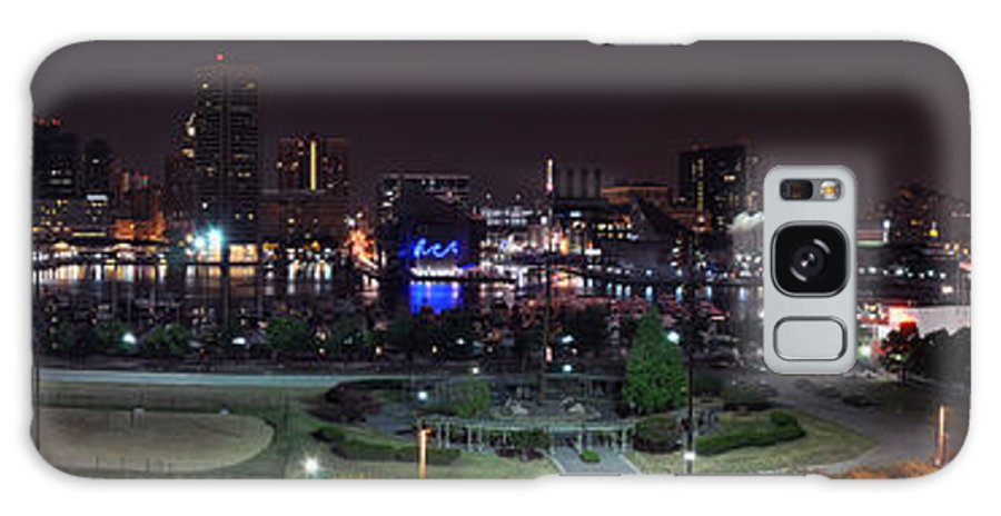 Baltimore Inner Harbor Skyline Night Panorama Galaxy S8 Case featuring the photograph Baltimore Inner Harbor Skyline Night Panorama by Paul Fearn