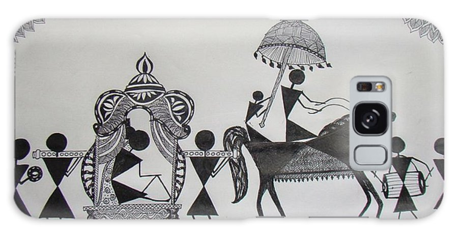 Warli Galaxy S8 Case featuring the painting Baraat - The Wedding Procession by Sachin Raverkar