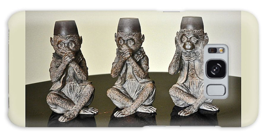 3wise Monkeys Galaxy S8 Case featuring the photograph Barbary Macaques Monkeys by Jay Milo