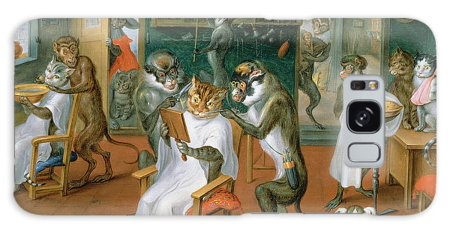 Interior Galaxy S8 Case featuring the photograph Barbers Shop With Monkeys And Cats Oil On Copper by Abraham Teniers
