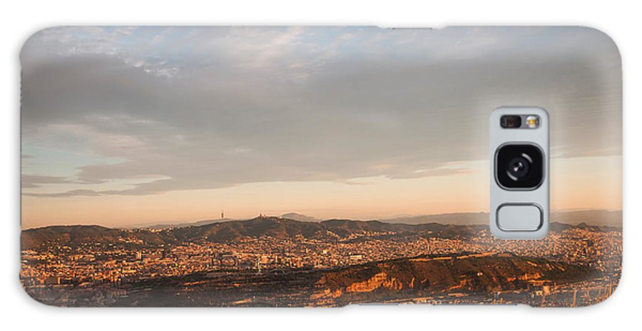 Barcelona Galaxy S8 Case featuring the photograph Barcelona On Sunrise. Aerial View by Jenny Rainbow