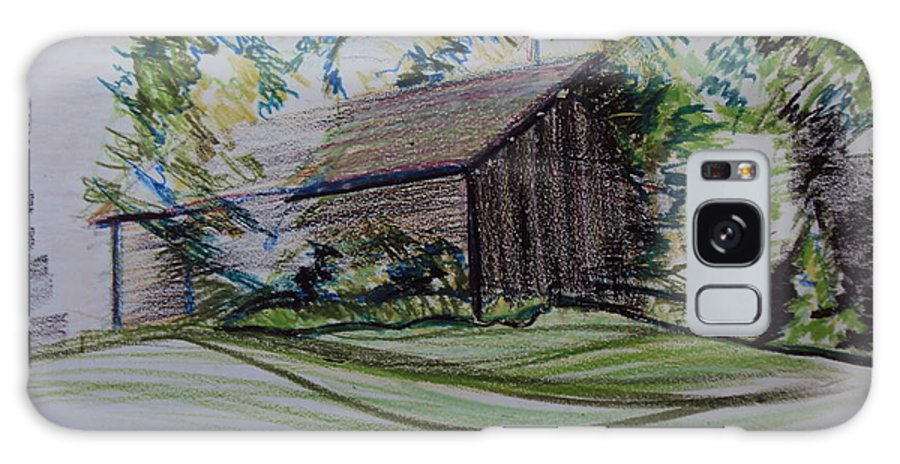 Plein Air Galaxy S8 Case featuring the pastel Old Barn At Wason Pond by Sean Connolly