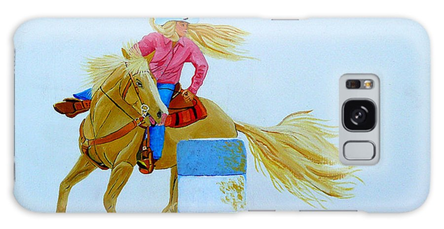 Rodeo Galaxy Case featuring the painting Barrel Racer by Anthony Dunphy