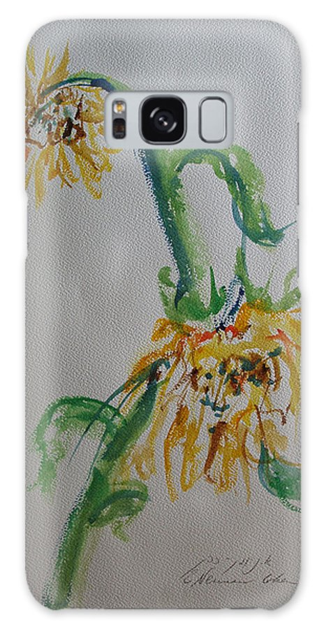 Bashful Galaxy S8 Case featuring the painting Bashful Sunflower by Esther Newman-Cohen