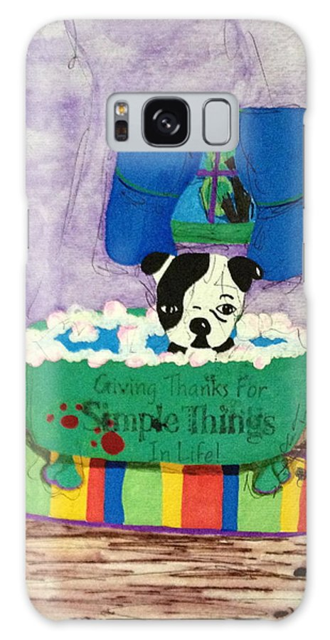 Dogs Galaxy S8 Case featuring the painting Bath Time by Tina Tieman