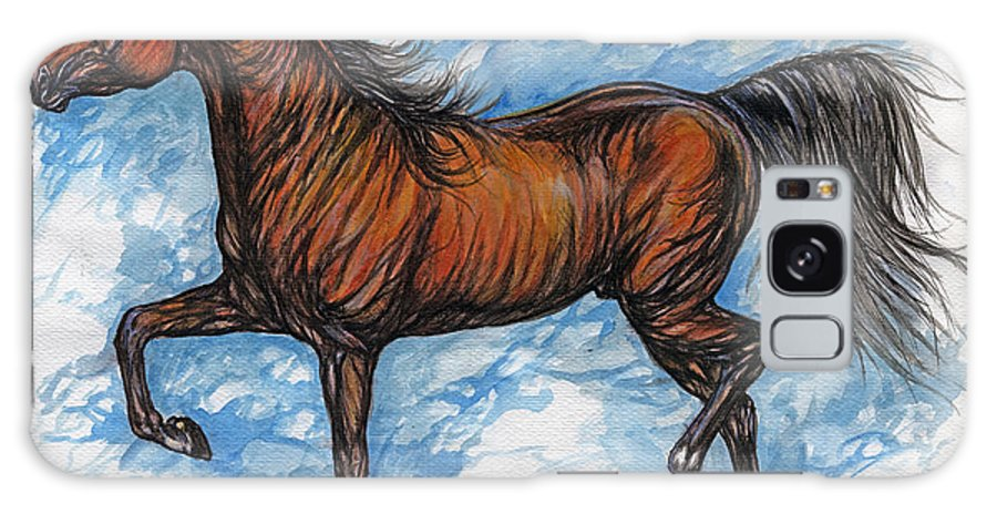 Psychodelic Galaxy S8 Case featuring the painting Bay Horse Running by Angel Ciesniarska