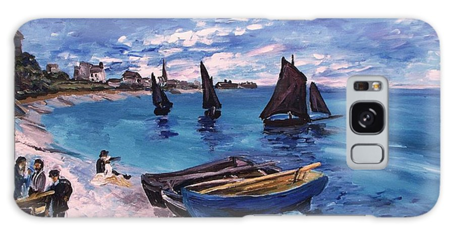 Monet Galaxy S8 Case featuring the painting Beach At Sainte Adresse Monet by Eric Schiabor