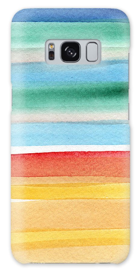 Beach Landscape Painting Galaxy Case featuring the painting Beach Blanket- colorful abstract painting by Linda Woods