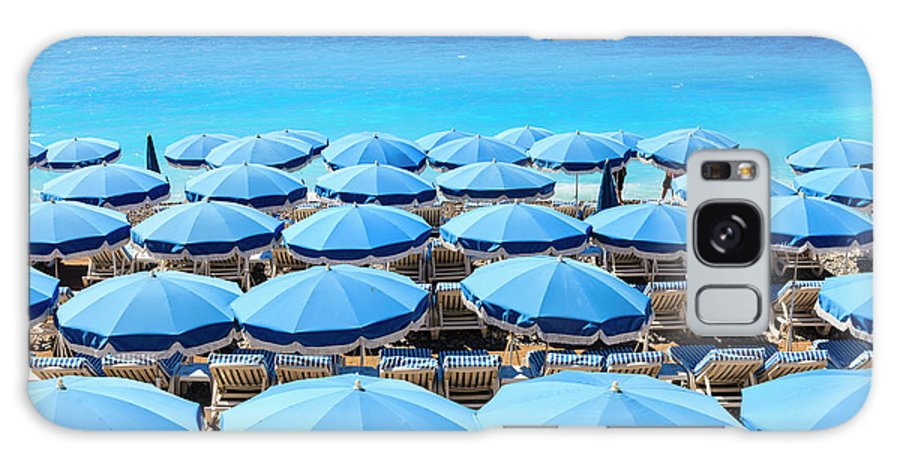 Outdoors Galaxy Case featuring the photograph Beach Parasols, Nice by Fraser Hall