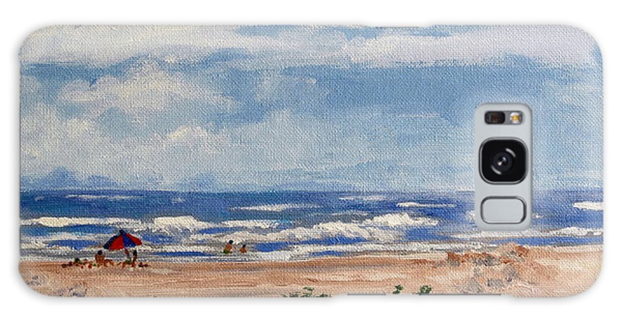 Beach Galaxy S8 Case featuring the painting Beach Scene On Galveston Island by Adele Bower