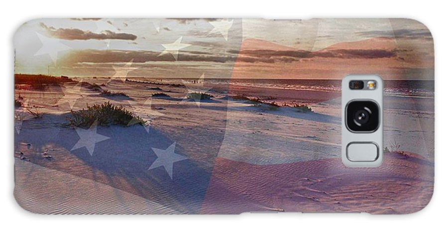 Alabama Galaxy S8 Case featuring the digital art Beach With Flag by Michael Thomas