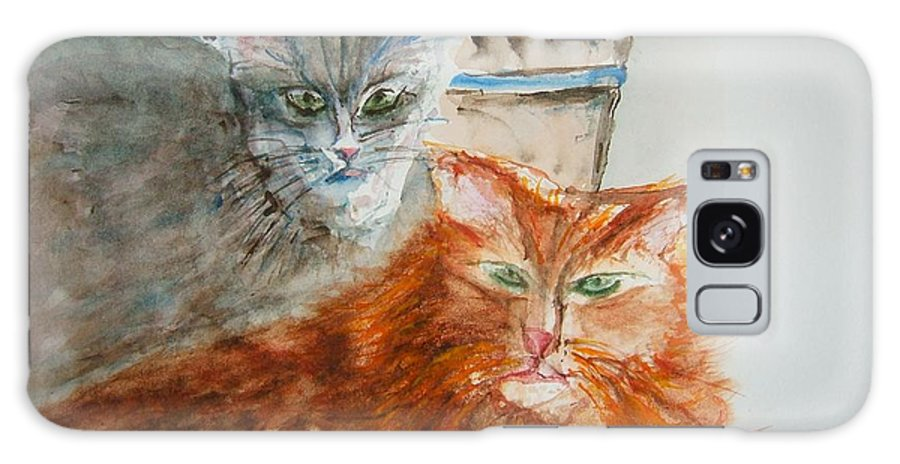 Cats Galaxy S8 Case featuring the painting Beauregard And Stonewall by Elaine Duras