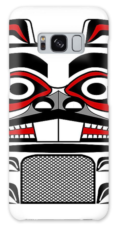 Haida Point Art Galaxy S8 Case featuring the drawing Beaver Totem by Fred Croydon