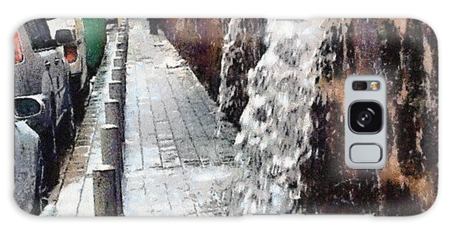 Heavy Rain In Beirut Let Water Fall From Behind The Wall . Galaxy S8 Case featuring the painting Beirut Wall by Clai
