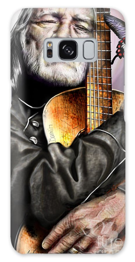 Willie Nelson Galaxy S8 Case featuring the painting Believing In Rainbows And Butterflies-being Willie by Reggie Duffie
