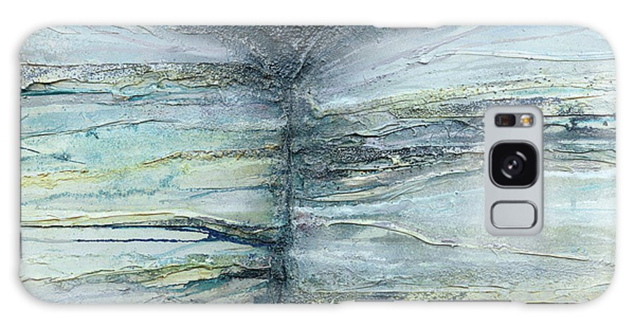 Belsay Hall Galaxy S8 Case featuring the mixed media Belsay Hall Quarry Gardens Rock And Root Series Blue And White by Mike  Bell