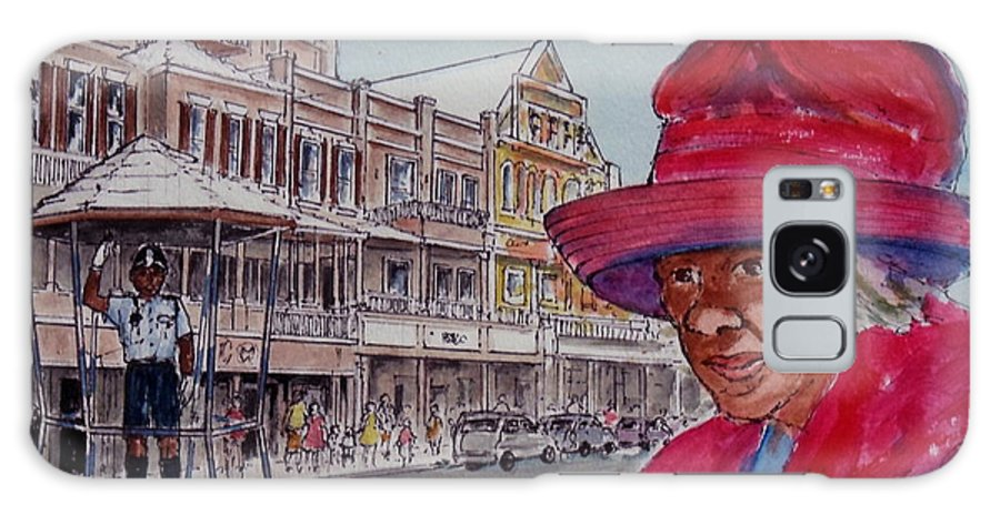 Hamilton Bermuda Cop Lady In Red Galaxy S8 Case featuring the painting Bermuda Lady In Red And Cop by Frank Hunter