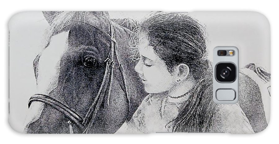 Pets Horses Horseback Riding Children Galaxy Case featuring the painting Best Friends by Tony Ruggiero