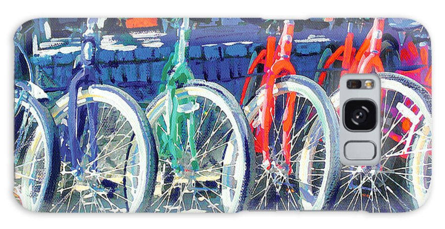 Bicycles Galaxy S8 Case featuring the painting Bicycles In A Row San Diego by RD Riccoboni