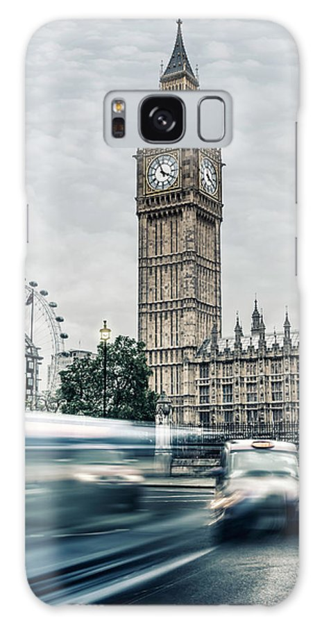 Gothic Style Galaxy Case featuring the photograph Big Ben At Dusk With Passing Traffic - by Alpamayophoto
