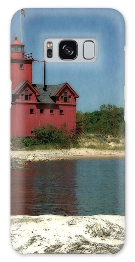 Michigan Galaxy S8 Case featuring the photograph Big Red Holland Michigan Lighthouse by Michelle Calkins