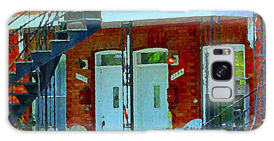 Montreal Galaxy S8 Case featuring the painting Bikes Balconies Brick Houses Flower Boxes Verdun Duplex Stairs Summer Scenes Carole Spandau by Carole Spandau