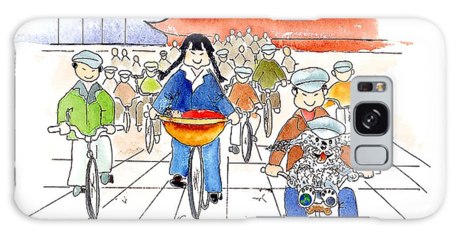 Art Prints For Kids Galaxy Case featuring the mixed media Biking In China by Leah Wiedemer