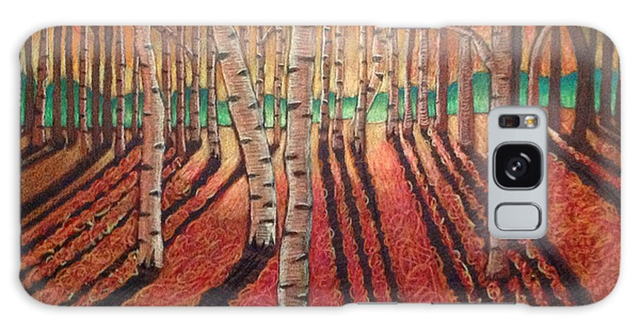 Drawing Galaxy S8 Case featuring the drawing Birch Trees At Dusk by Nancy McNamer