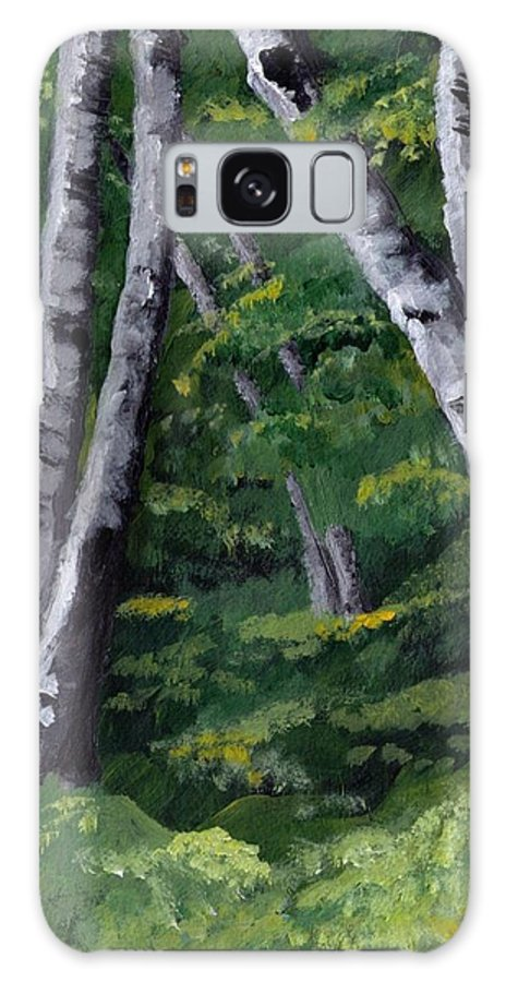 Trees Galaxy S8 Case featuring the painting Birches by Jesslyn Fraser