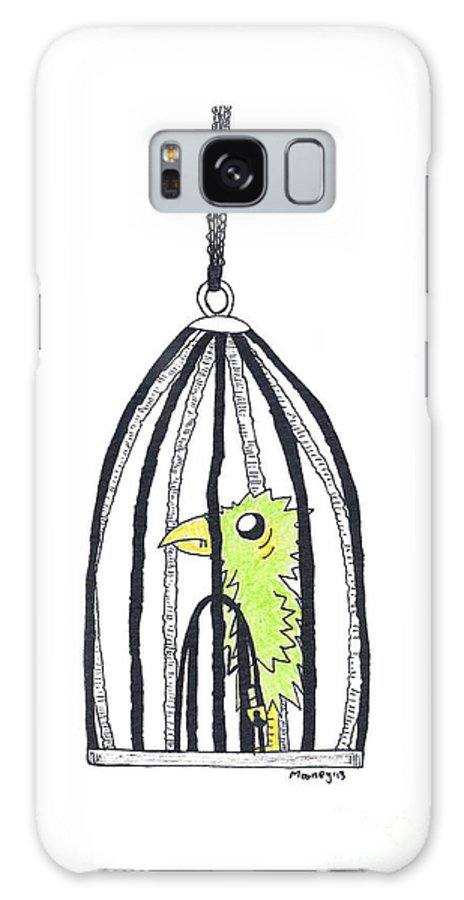 Bird Art Galaxy S8 Case featuring the drawing Bird In A Cage 1 by Michael Mooney