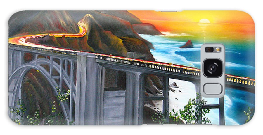 Beautiful California Sunset! Galaxy S8 Case featuring the painting Bixby Coastal Bridge Of California At Sunset by Portland Art Creations