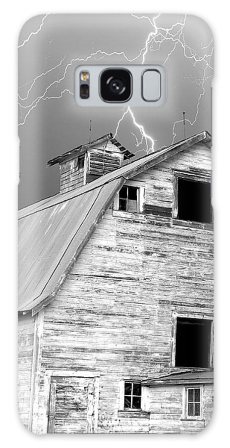 Lightning Galaxy S8 Case featuring the photograph Black And White Old Barn Lightning Strikes by James BO Insogna