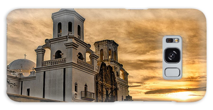 San Xavier Mission Galaxy S8 Case featuring the photograph Black And White Sunrise Over Mission by Larry White
