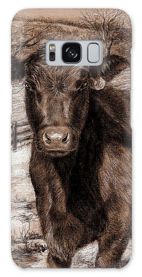 Black Angus Galaxy S8 Case featuring the drawing Black Angus In The Field by Nicole Troup