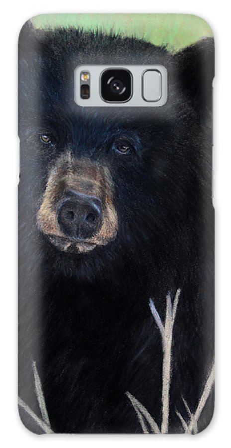 Black Bear Animal Wildlife Fur Coat Wild Animal Grass Outdoor Pastel Green Straw Woods Animals Pastel Painting Pastels Galaxy S8 Case featuring the painting Black Bear Staredown by Dale Bradley