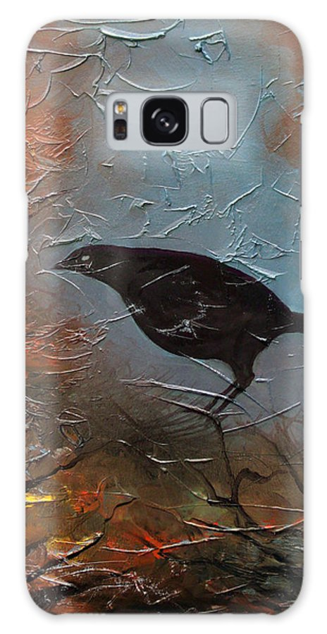 Landscape Galaxy Case featuring the painting Black Bird by Sergey Bezhinets