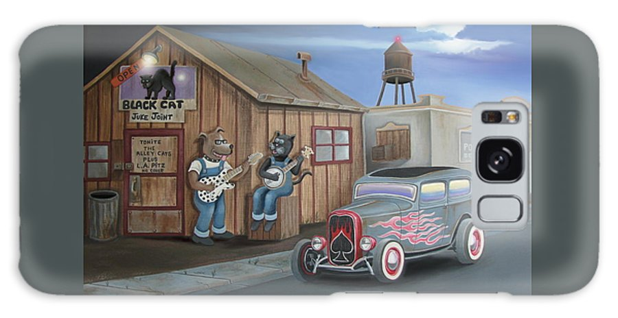 Cat Galaxy S8 Case featuring the digital art Black Cat Juke Joint by Stuart Swartz