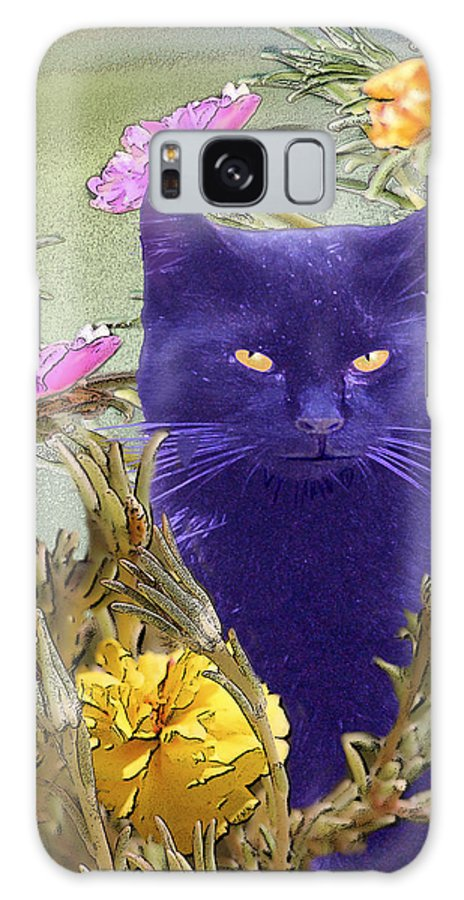Cats Galaxy S8 Case featuring the digital art Black Cat Lurking In The Portulaca by Alice Ramirez