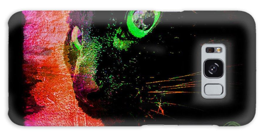 Black Cat Galaxy S8 Case featuring the digital art Black Cat Neon by Absinthe Art By Michelle LeAnn Scott