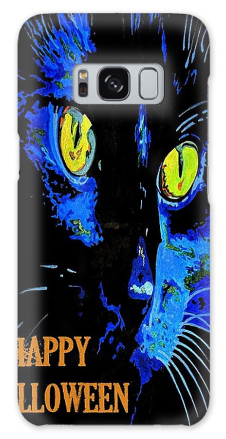 Black Galaxy S8 Case featuring the painting Black Cat Portrait With Happy Halloween Greeting by Taiche Acrylic Art